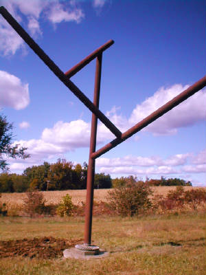 IRON Y sculpture